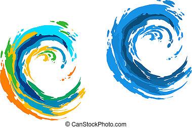 colorido, ondas