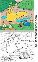 colorido, página, caricatura, ilustración, de, caracol, para, children.