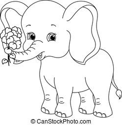 colorido, página, elefante