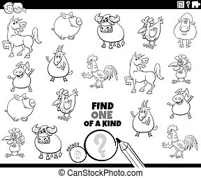 colorido, página, juego, animales, uno, granja, clase, libro
