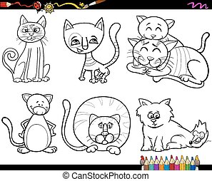 colorido, página, mascotas, gente