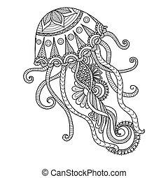 colorido, página, medusa