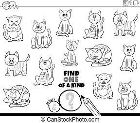 colorido, página, tarea, uno, gatos, clase, libro