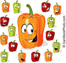 colorido, páprica, (pepper), caricatura