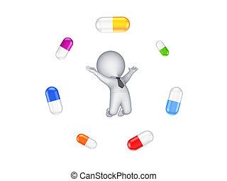 colorido, píldoras, alrededor, 3d, pequeño, person.