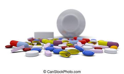 colorido, píldoras, derramado, de, botella
