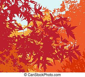 colorido, paisaje, de, automn, follaje, -, vector, illustrationthe, diferente, gráficos, ser, en, separado, capas, tan, ellos, lata, fácilmente, ser, movido, o, edited, individually