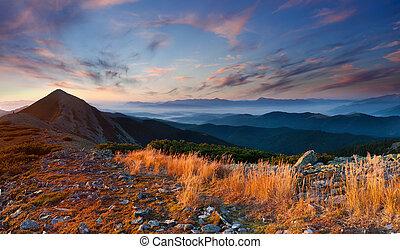 colorido, paisaje de otoño, en, el, montañas., salida del sol