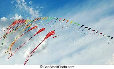 colorido, papagaios, em, a, céu