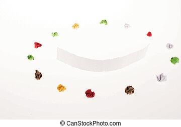 colorido, papel arrugado, forma, forma, un, círculo, y, felicidad, y, alegre, símbolo