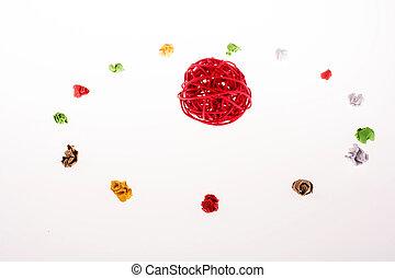 colorido, papel arrugado, forma, un, círculo, con, carrete