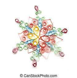 colorido, papel, copo de nieve, aislado, blanco
