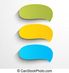 colorido, papel, discurso, burbujas