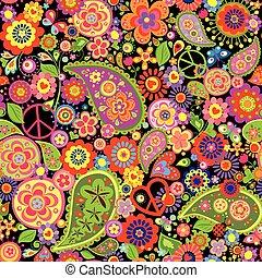 colorido, papel pintado, con, divertido, flores del resorte, cachemira, y, símbolo de paz
