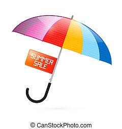 colorido, paraguas, ilustración, con, verano, venta, título