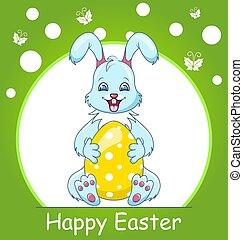 colorido, pascua feliz, tarjeta de felicitación, con, conejo, sonriente, conejito, con, huevo