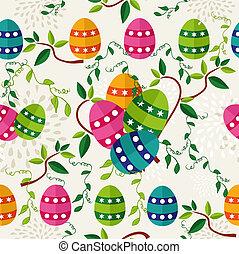colorido, pascua, patrón, huevos