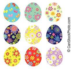 colorido, pascua, pintado, huevos