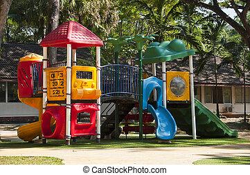 colorido, patio de recreo, equipment.