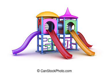 colorido, patio de recreo, para, childrens.