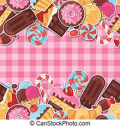 colorido, patrón, pegatina, dulce, seamless, dulces, cakes.