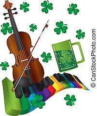 colorido, patricks de st, teclado, violín, piano, día