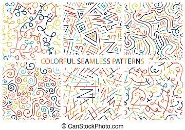colorido, patterns., seamless, colección, mano, dibujado