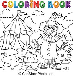 colorido, payaso, tema, libro, 6