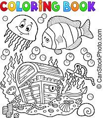 colorido, pecho, tesoro, libro, submarino