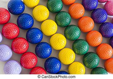 colorido, pelotas de golf
