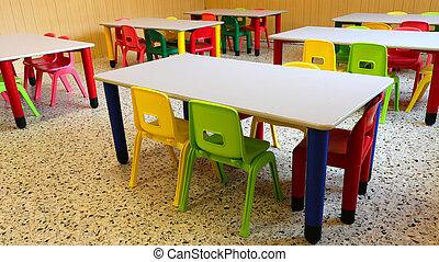 colorido, pequeño, sillas, refectorio, plástico, mesas, ...