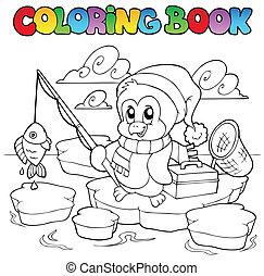colorido, pesca, libro, pingüino