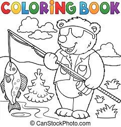 colorido, pescador, libro, oso