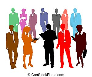 colorido, pessoas negócio, silhuetas