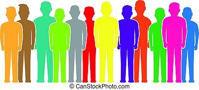 colorido, pessoas, silhuetas