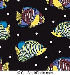 colorido, pez, seamless, mano, tropical, plano de fondo, dibujado