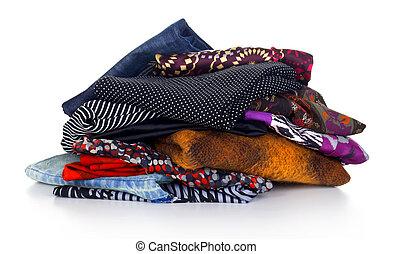 colorido, pilha, roupas