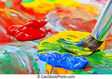 colorido, pintura acrílica, e, escova, close-up, tiro