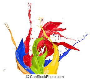 colorido, pintura, esguichos, isolado, branco, fundo