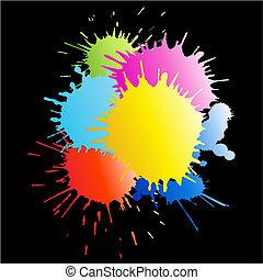colorido, pintura, salpicaduras, con, lluvia