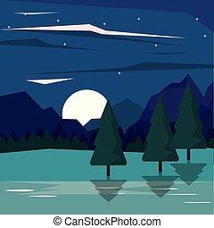 colorido, plano de fondo, de, nightly, paisaje, de, montañas, y, valle, para encenderse, luna