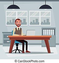 colorido, plano de fondo, lugar de trabajo, oficina, con, ejecutivo, hombre que sienta, en, un, tabla, escritorio, delante de, computadora