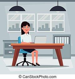 colorido, plano de fondo, lugar de trabajo, oficina, con, ejecutivo, mujer se sentar, en, un, tabla, escritorio, delante de, computadora
