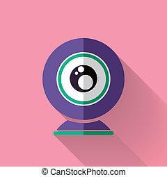 colorido, plano, diseño, cámara de web, icono