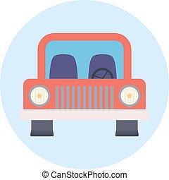 colorido, plano, diseño, coche, icon., vector
