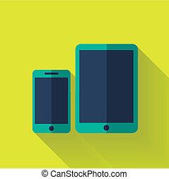colorido, plano, diseño, dispositivo digital, icono