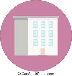 colorido, plano, diseño, edificio, icon., vector