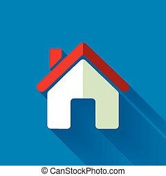 colorido, plano, diseño, icono de la casa