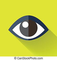 colorido, plano, diseño, ojo, icono