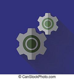colorido, plano, diseño, rueda dentada, icono